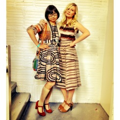 Shirley and Kirsten Dunst in Rodarte after a show